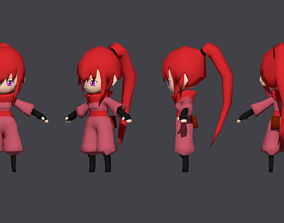 3D model Low Poly Chibi Ninja Woman 2 Character