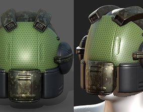 Helmet scifi military combat 3d model low-poly