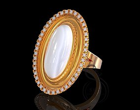 19x9 oval cabochon ring 3D printable model