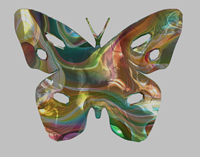 Low Poly Butterfly Silhouette Decorative Object 3D asset