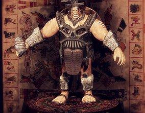 low-poly Aztec Warrior 3D Model