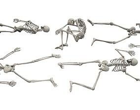 Skeleton Laying Poses 3D model low-poly