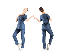 Beautiful medical nurse posing 40 3D asset low-poly