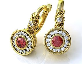 3D print model Golden Earrings with Rubies and Brilliants