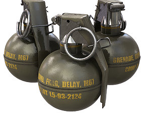 3D asset game-ready M67 Grenade