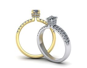 Cushion Gem Engagement ring N0267 3D printable model