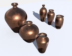 3D asset Old Copper Jars pack 1