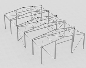 Steel hangar construction 3D model