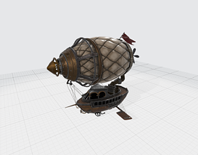 3D model Steampunk Dirigible with Ship