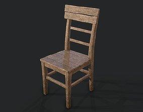 Old Wooden Chair 3D asset