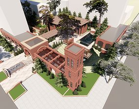 3D Clubhouse Red brick and villa