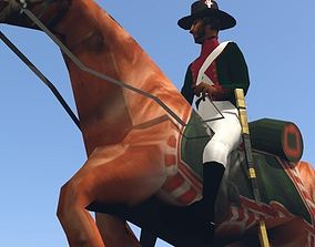 3D asset Black Dragoon LOW POLY Napoleonic