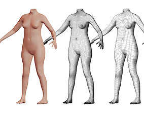 3D model Character 25 High and Low-poly - Body Female