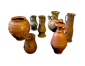 3D asset Set of low-poly medieval vases and jugs