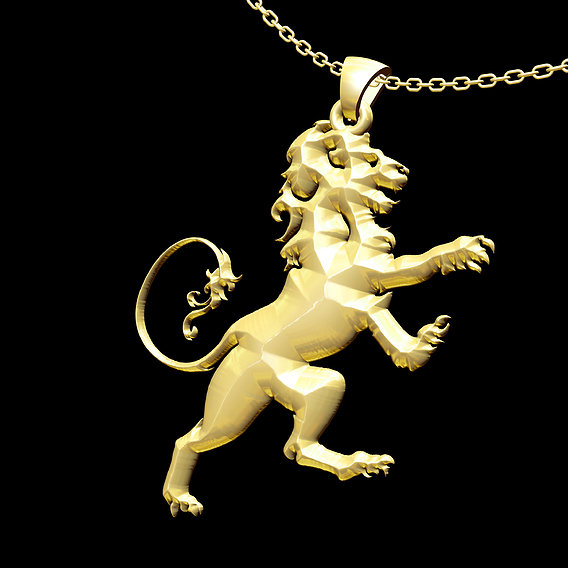 Lion standing Pendant jewelry Gold 3D print model