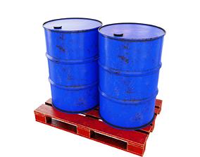 Barrels on a wooden pallet gas 3D