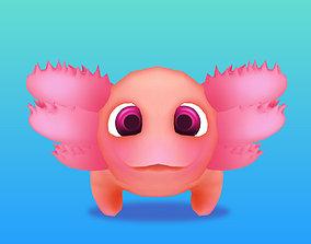 3D asset Low-poly Cute Axolotl