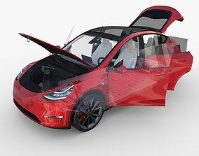 3D Tesla Model Y RWD Red with interior and chassis