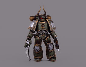 rigged Warhammer Chaos Marine Soldier Low-poly 3D model 03