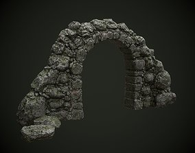 Mossy stone arch 3D asset