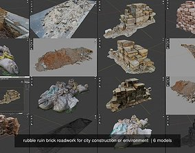 rubble ruin brick roadwork for city construction or 3D