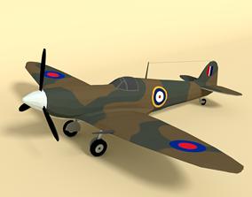 3D asset Low Poly Cartoon Supermarine Spitfire MKII