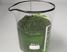 3D model 800 ml Glass Beaker with Liquid and Rod