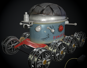 3D model game-ready Moon rover