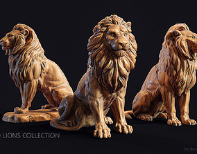 Seated lions 3 in 1 Collection 3D model leo