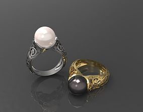 3D print model Ring with pearl gold