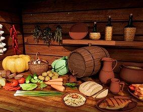 food vegetables utensils for a rustic or medieval 3D model