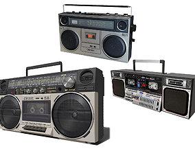 1980s 3D model Retro Boom Box Ghetto Blaster Pack