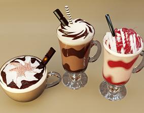 3D model Classic Milkshake Moca Mix Coffee and Hot 2