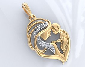 3D print model Stylish pendant mother with baby 393