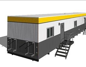 Construction Site Office Trailer On Running steel 3D asset