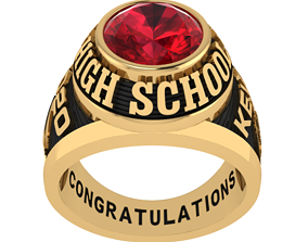 Personalized Class Ring 1 - Oval Gem 3D printable model