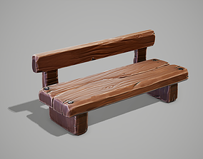3D model low-poly Stylized Bench
