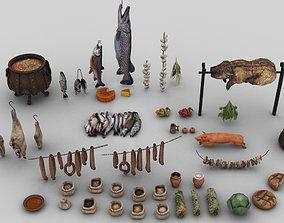 3D model Pack of 45 Medieval Food Assets