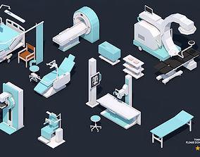 Low Poly Hospital Set - Medical Equipments 3D asset