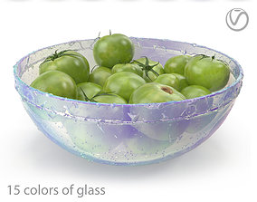 3D model Green tomatoes in a round glass plate-15 colors 1