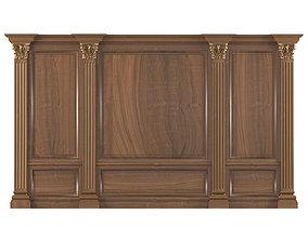 Wall wood boiserie paneling 3D
