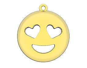 Emoji gold pendant printable Smiley love jewelry 3dm stl