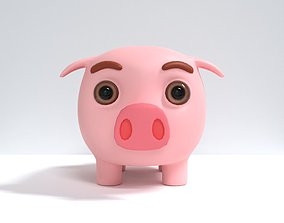 cash 3D model piggy bank