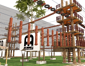 3D model the site of competitions for crossing obstacles 1