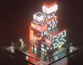 3D asset low poly cyberpunk