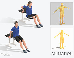 3D model Chair Pushups Exercise Man Animation