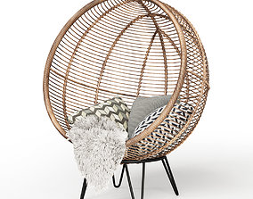 3D model Round Rattan Cocoon Chair