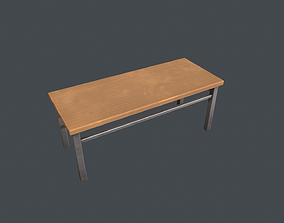 3D asset Basic Wooden Desk Table