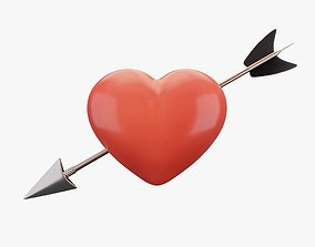 3D model animated Heart with Arrow