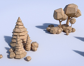 3D model Paper Trees and Bushes